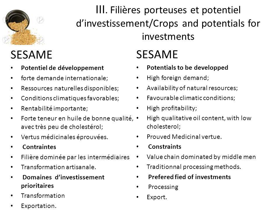 SESAME Potentiel de développement forte demande internationale; Ressources naturelles disponibles; Conditions climatiques favorables; Rentabilité importante; Forte teneur en huile de bonne qualité, avec très peu de cholestérol; Vertus médicinales éprouvées.