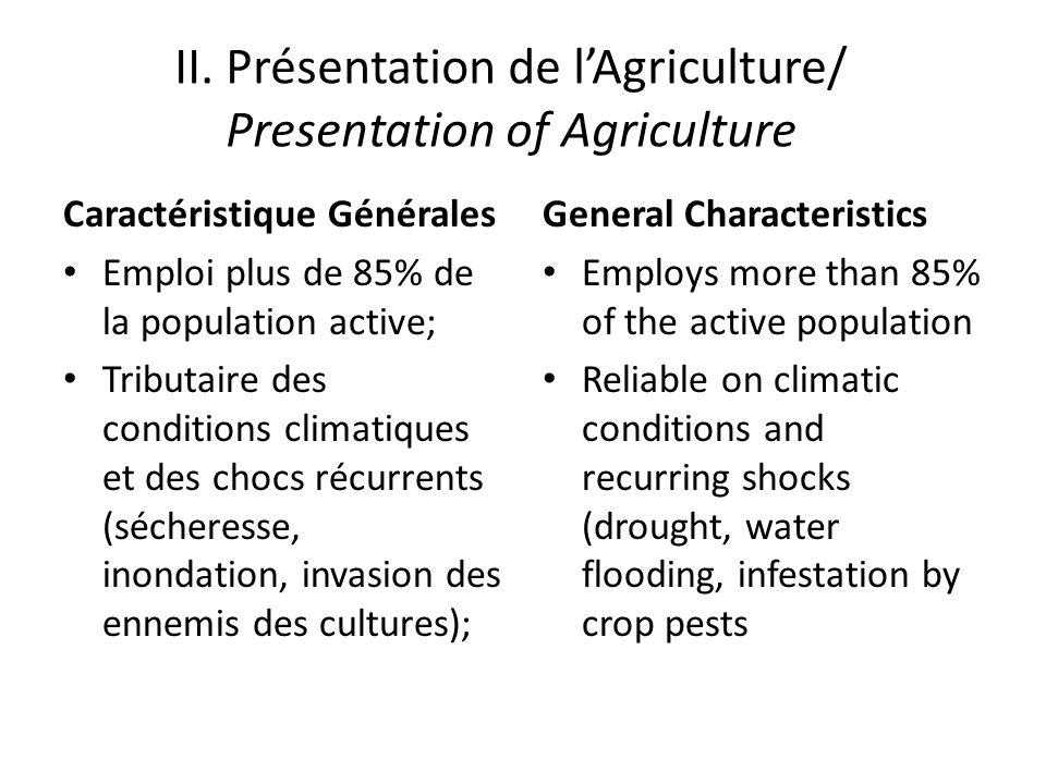 II. Présentation de lAgriculture/ Presentation of Agriculture Caractéristique Générales Emploi plus de 85% de la population active; Tributaire des con