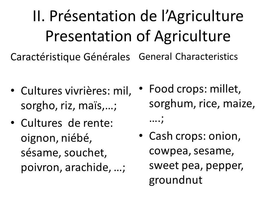 II. Présentation de lAgriculture Presentation of Agriculture Caractéristique Générales Cultures vivrières: mil, sorgho, riz, maïs,…; Cultures de rente