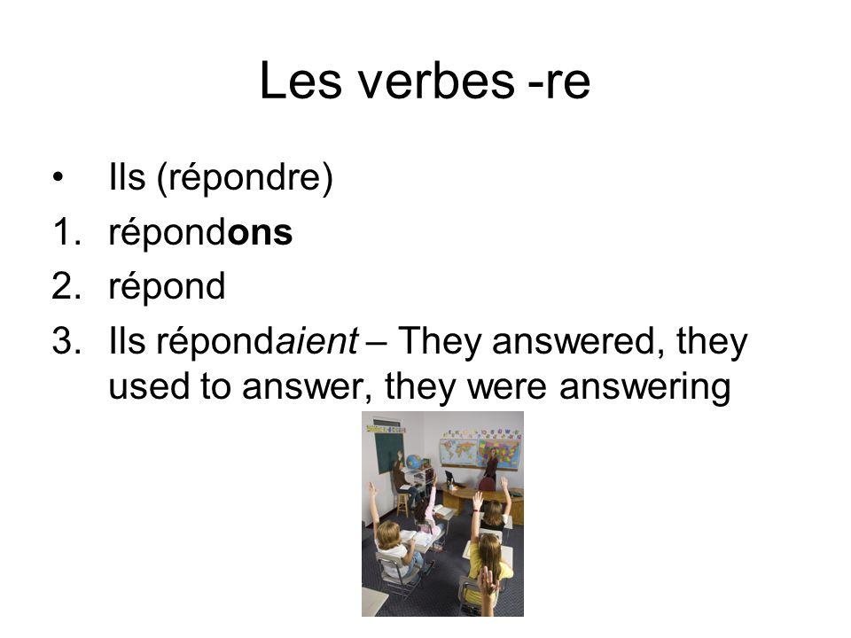 Les verbes irreguliers Elle (écrire) 1.Écrivons 2.Écriv 3.Elle écrivait – She wrote, she used to write, she was writing