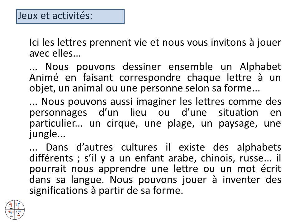 Jeux et activités: Ici les lettres prennent vie et nous vous invitons à jouer avec elles...... Nous pouvons dessiner ensemble un Alphabet Animé en fai