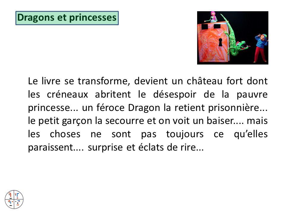 Dragons et princesses Le livre se transforme, devient un château fort dont les créneaux abritent le désespoir de la pauvre princesse... un féroce Drag