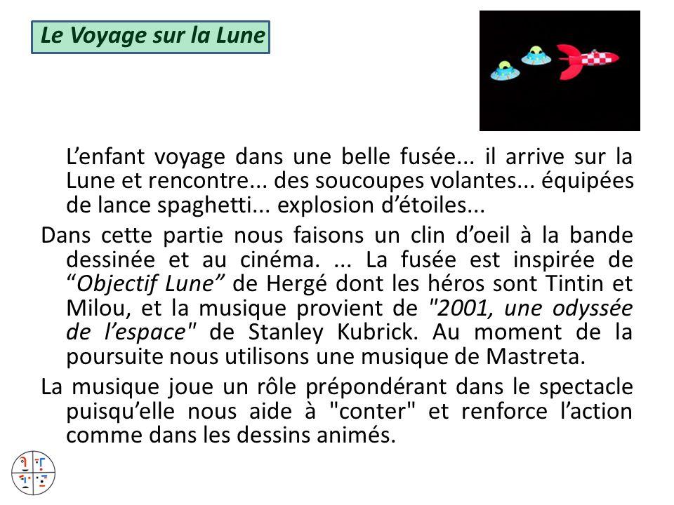 Le Voyage sur la Lune Lenfant voyage dans une belle fusée... il arrive sur la Lune et rencontre... des soucoupes volantes... équipées de lance spaghet