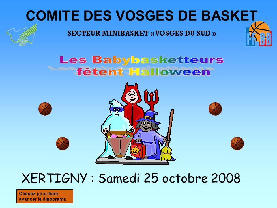 COMITE DES VOSGES DE BASKET SECTEUR MINIBASKET « VOSGES DU SUD » XERTIGNY : Samedi 25 octobre 2008 Cliquez pour faire avancer le diaporama