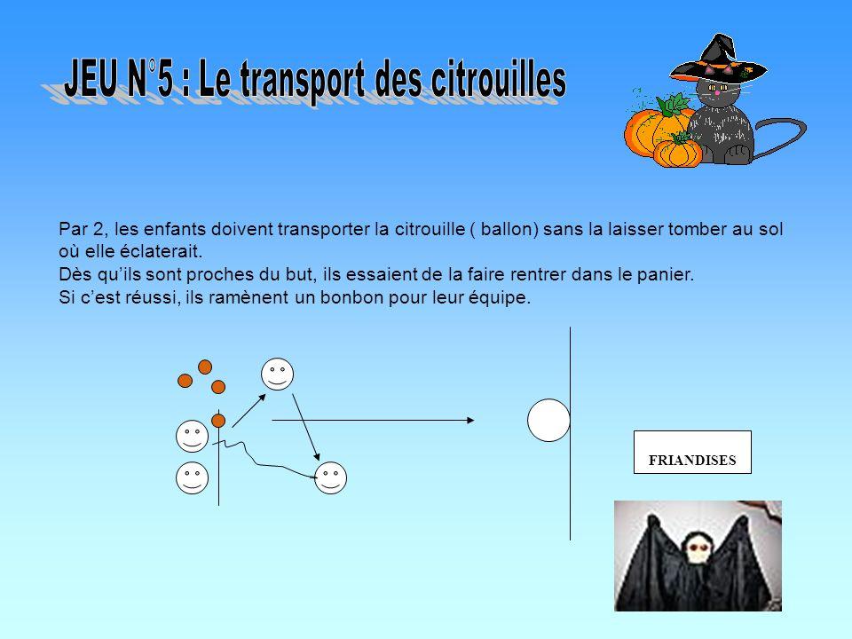 Par 2, les enfants doivent transporter la citrouille ( ballon) sans la laisser tomber au sol où elle éclaterait. Dès quils sont proches du but, ils es