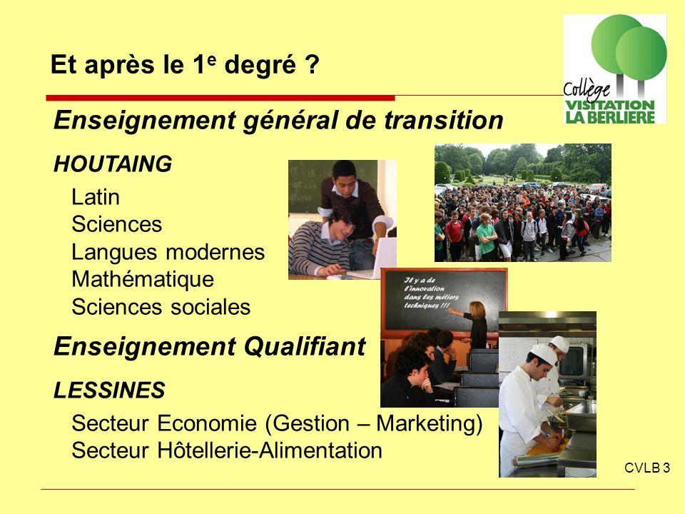 CVLB 3 Et après le 1 e degré ? Enseignement général de transition HOUTAING Latin Sciences Langues modernes Mathématique Sciences sociales Enseignement