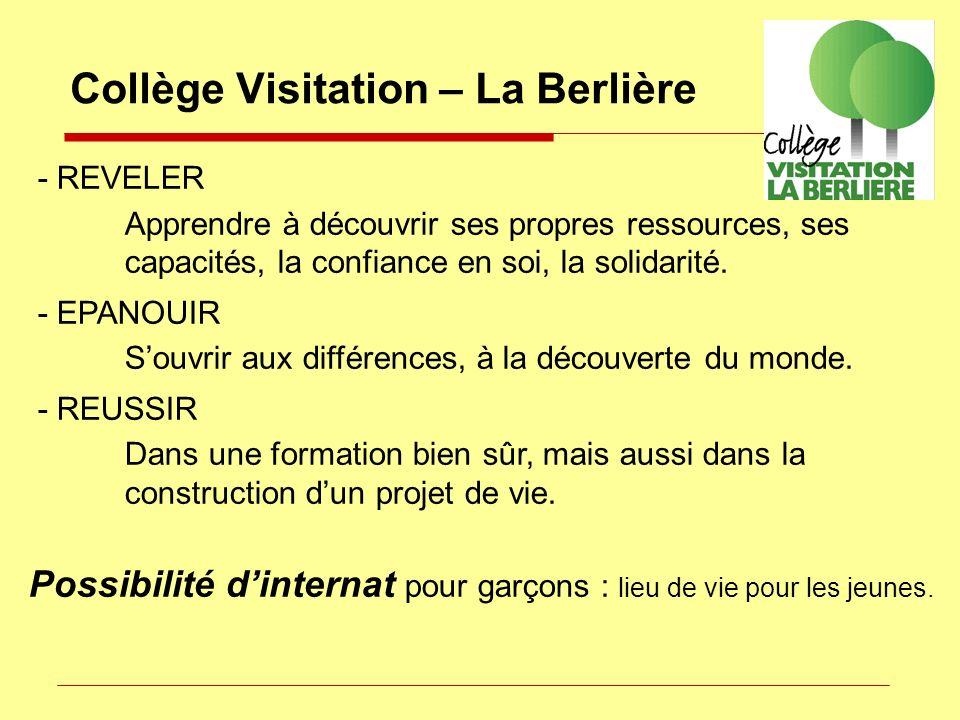 Collège Visitation – La Berlière - REVELER Apprendre à découvrir ses propres ressources, ses capacités, la confiance en soi, la solidarité. - EPANOUIR