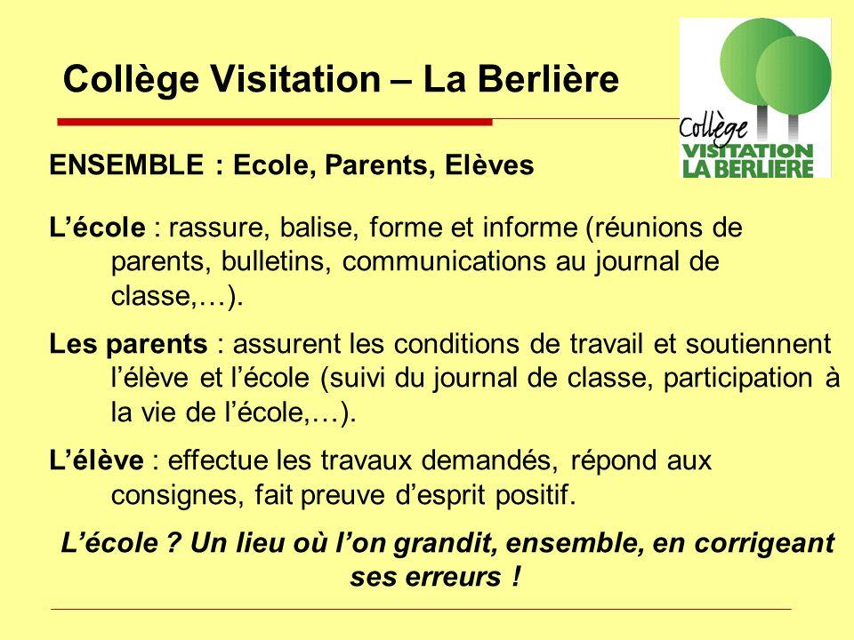 ENSEMBLE : Ecole, Parents, Elèves Lécole : rassure, balise, forme et informe (réunions de parents, bulletins, communications au journal de classe,…).