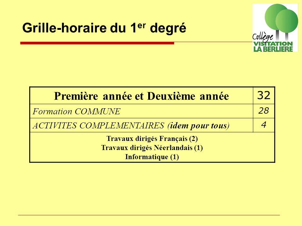 Grille-horaire du 1 er degré Première année et Deuxième année 32 Formation COMMUNE 28 ACTIVITES COMPLEMENTAIRES (idem pour tous) 4 Travaux dirigés Fra