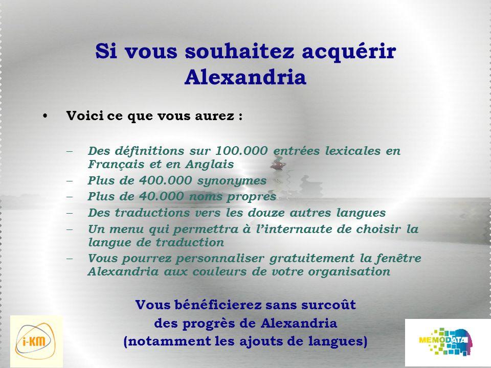 Si vous souhaitez acquérir Alexandria Voici ce que vous aurez : – Des définitions sur 100.000 entrées lexicales en Français et en Anglais – Plus de 400.000 synonymes – Plus de 40.000 noms propres – Des traductions vers les douze autres langues – Un menu qui permettra à linternaute de choisir la langue de traduction – Vous pourrez personnaliser gratuitement la fenêtre Alexandria aux couleurs de votre organisation Vous bénéficierez sans surcoût des progrès de Alexandria (notamment les ajouts de langues)