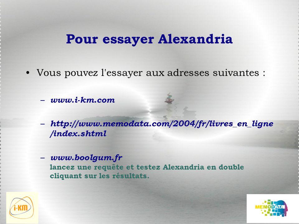 Pour essayer Alexandria Vous pouvez l essayer aux adresses suivantes : – www.i-km.com – http://www.memodata.com/2004/fr/livres_en_ligne /index.shtml – www.boolgum.fr lancez une requête et testez Alexandria en double cliquant sur les résultats.