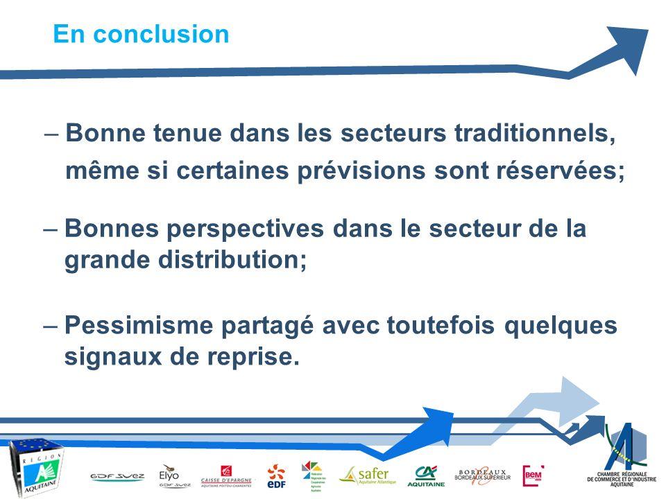 –Bonne tenue dans les secteurs traditionnels, même si certaines prévisions sont réservées; En conclusion –Bonnes perspectives dans le secteur de la grande distribution; –Pessimisme partagé avec toutefois quelques signaux de reprise.
