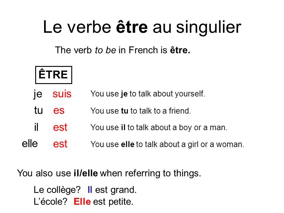 Le verbe être au singulier The verb to be in French is être. ÊTRE je tu il elle suis es est You use je to talk about yourself. You use tu to talk to a