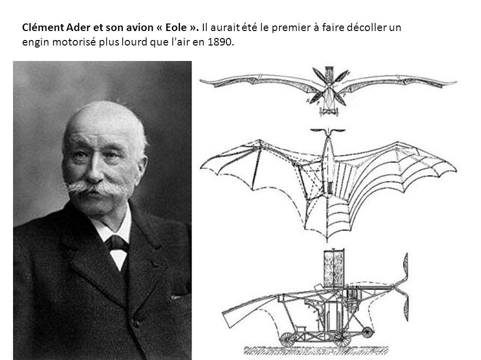 Clément Ader et son avion « Eole ».