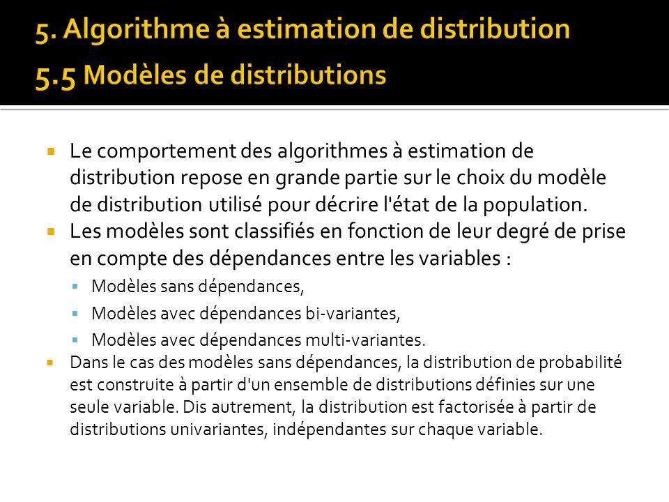 Le comportement des algorithmes à estimation de distribution repose en grande partie sur le choix du modèle de distribution utilisé pour décrire l'éta