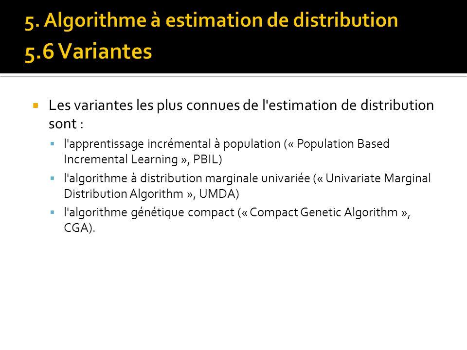 Les variantes les plus connues de l'estimation de distribution sont : l'apprentissage incrémental à population (« Population Based Incremental Learnin