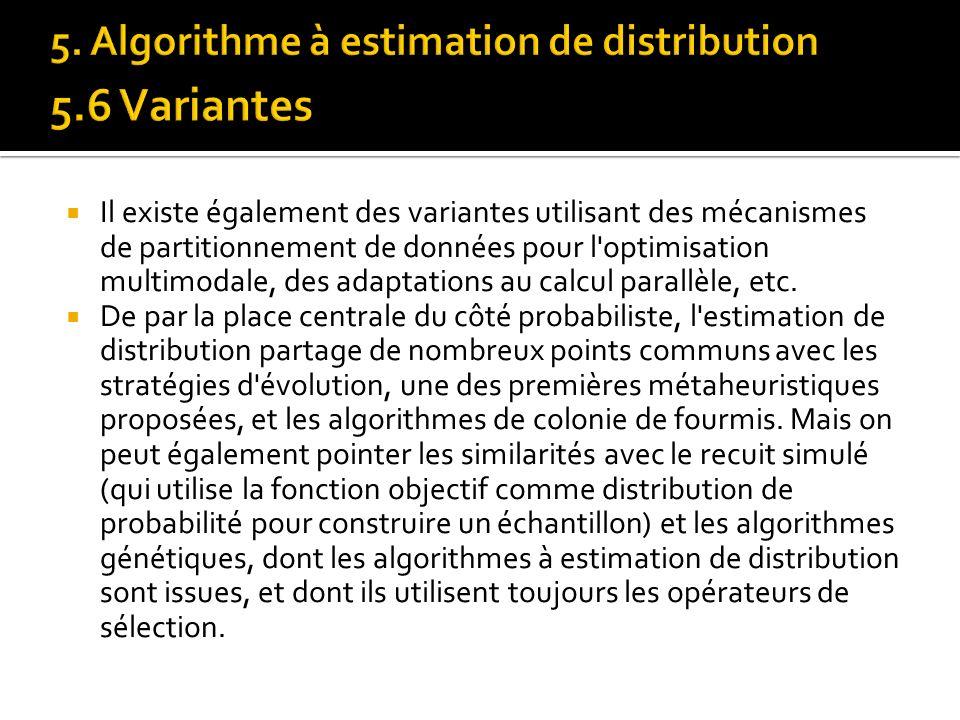Il existe également des variantes utilisant des mécanismes de partitionnement de données pour l'optimisation multimodale, des adaptations au calcul pa