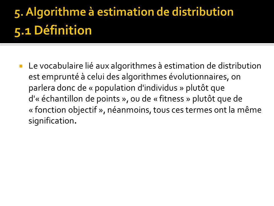 Le vocabulaire lié aux algorithmes à estimation de distribution est emprunté à celui des algorithmes évolutionnaires, on parlera donc de « population