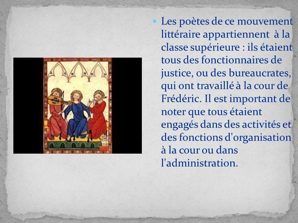 Les poètes de ce mouvement littéraire appartiennent à la classe supérieure : ils étaient tous des fonctionnaires de justice, ou des bureaucrates, qui