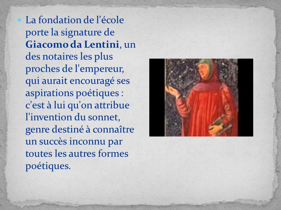 La fondation de l'école porte la signature de Giacomo da Lentini, un des notaires les plus proches de l'empereur, qui aurait encouragé ses aspirations