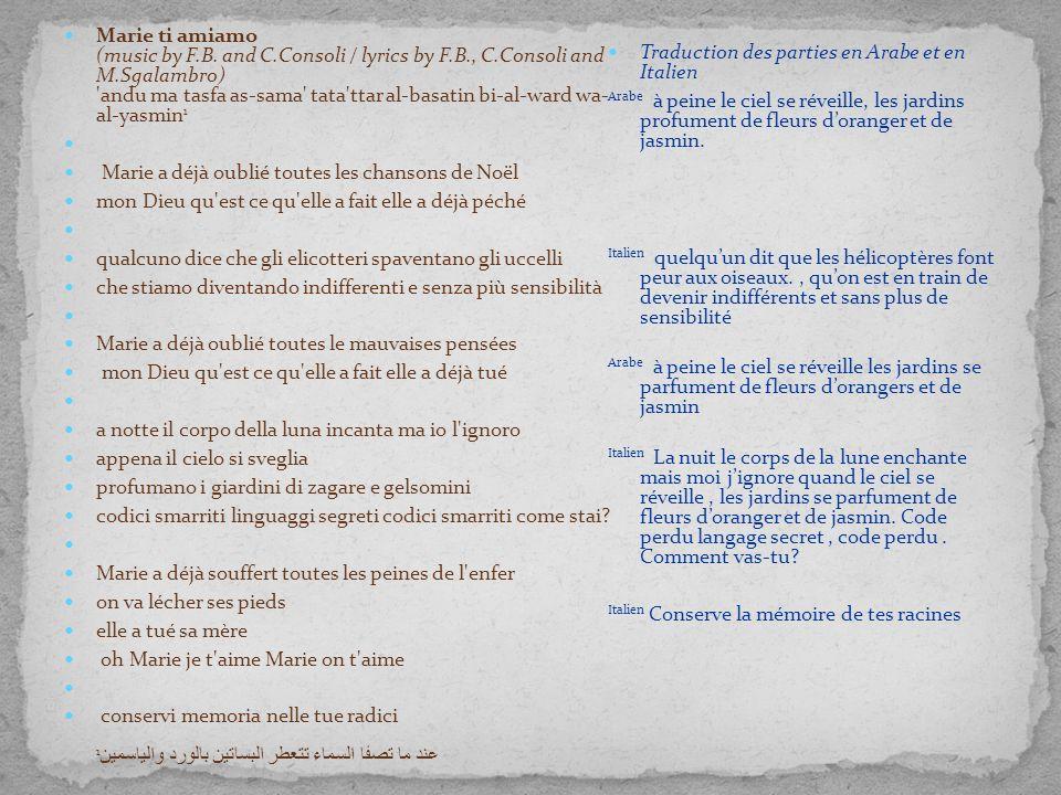 Marie ti amiamo (music by F.B. and C.Consoli / lyrics by F.B., C.Consoli and M.Sgalambro) 'andu ma tasfa as-sama' tata'ttar al-basatin bi-al-ward wa-