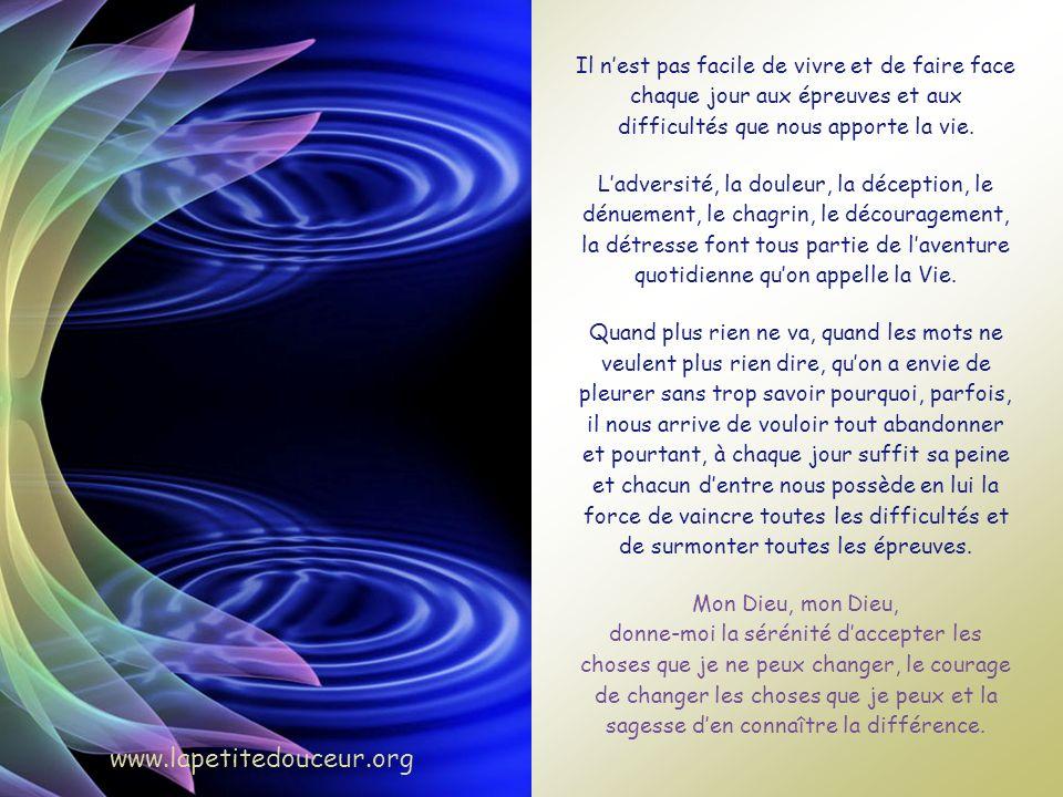 Afin de terminer cette réflexion en beauté, voici la version chantée de la prière de la sérénité, magnifiquement interprétée par Serge Bélair et Claud