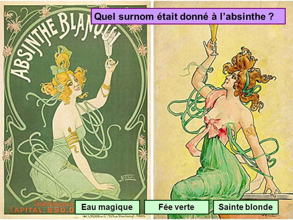 En quelle année labsinthe a-t-elle été interdite en France ? 1895 1915 1935