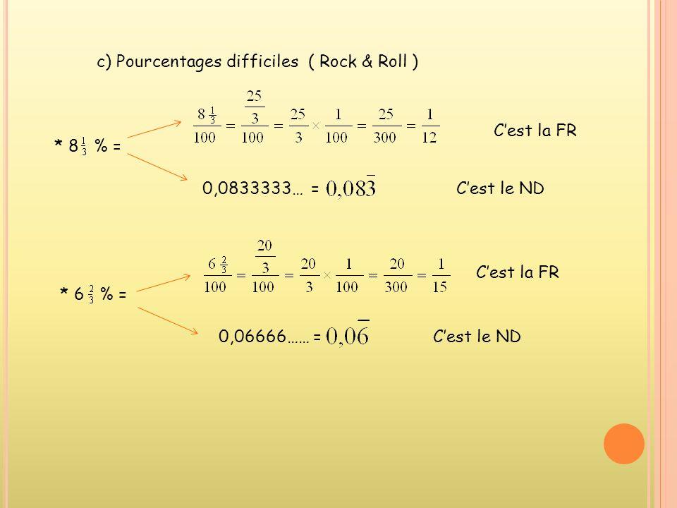 b) Pourcentages moyens : * 35 % = Cest la FR 0,35 Cest le ND * 12,5 % = Cest la FR 0,125 Cest le ND * 22½ % = Cest la FR 0,225 Cest le ND De même pour