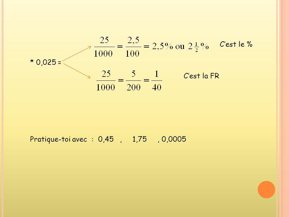 2.Comment passer dun nombre décimal (ND) à un pourcentage (%) et à une fraction réduite(FR) ? * 0,8 = Cest le % Cest la FR Très important : le nombre