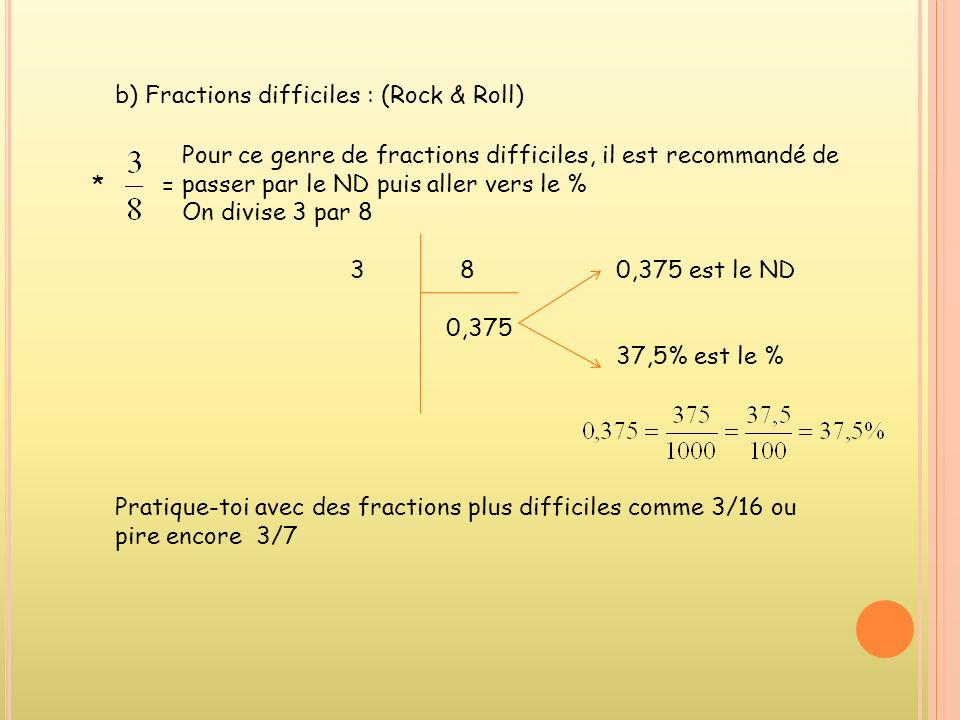 3.Comment passer dune fraction réduite (FR) à un pourcentage (%) et à un nombre décimal (ND) ? a) Fractions faciles : * =Cest le % Cest le ND Pratique