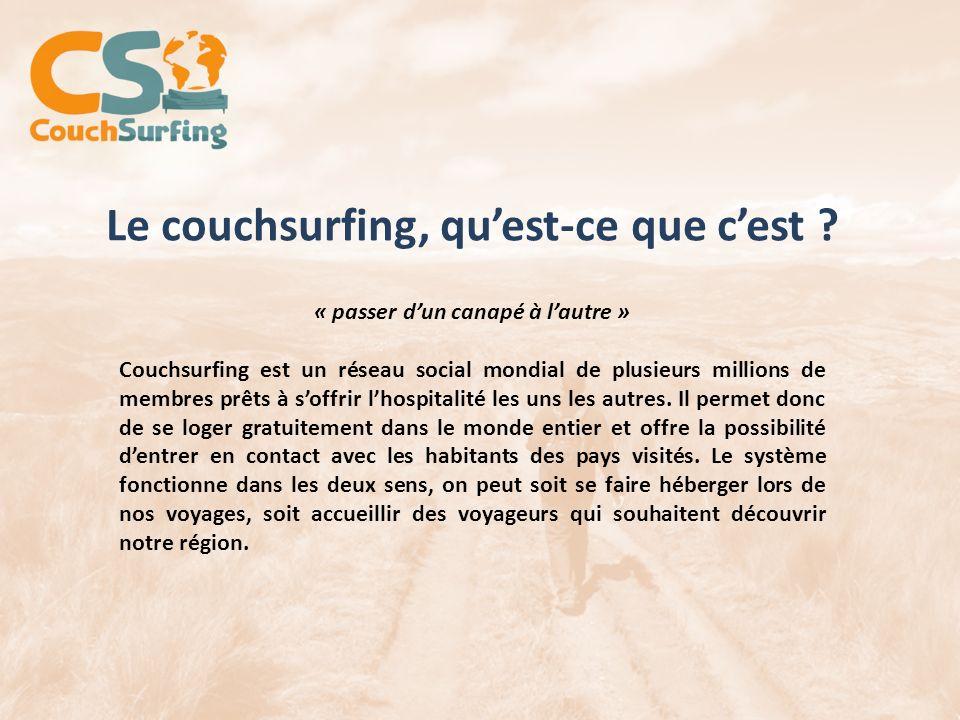 Le couchsurfing, quest-ce que cest ? « passer dun canapé à lautre » Couchsurfing est un réseau social mondial de plusieurs millions de membres prêts à