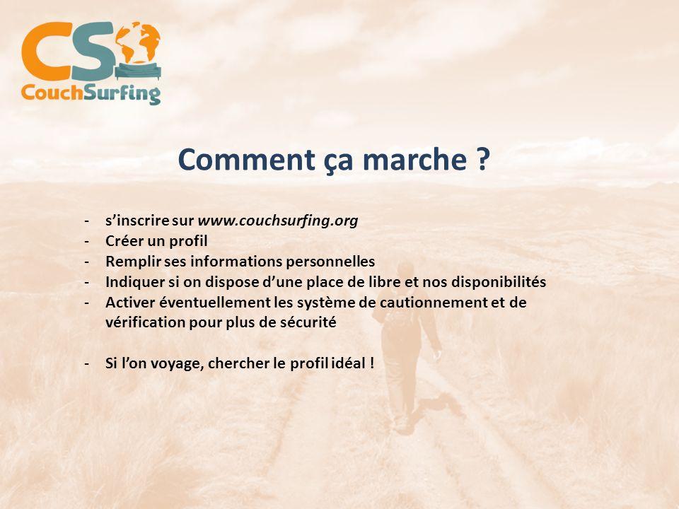 Comment ça marche ? -sinscrire sur www.couchsurfing.org -Créer un profil -Remplir ses informations personnelles -Indiquer si on dispose dune place de