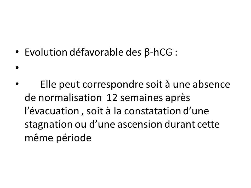 Evolution défavorable des β-hCG : Elle peut correspondre soit à une absence de normalisation 12 semaines après lévacuation, soit à la constatation dune stagnation ou dune ascension durant cette même période