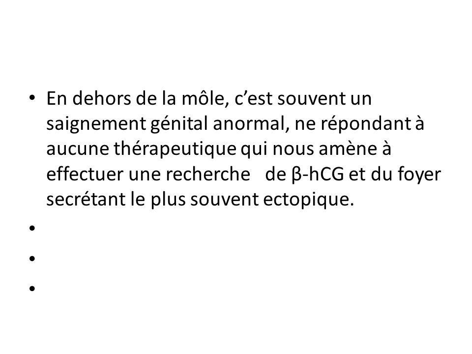 En dehors de la môle, cest souvent un saignement génital anormal, ne répondant à aucune thérapeutique qui nous amène à effectuer une recherche de β-hCG et du foyer secrétant le plus souvent ectopique.