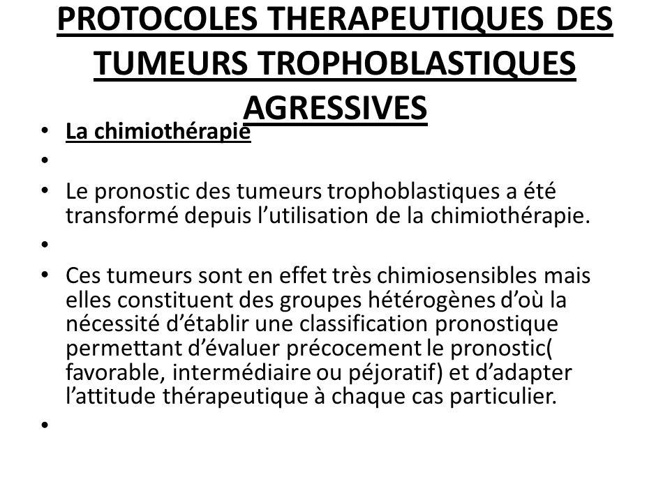 PROTOCOLES THERAPEUTIQUES DES TUMEURS TROPHOBLASTIQUES AGRESSIVES La chimiothérapie Le pronostic des tumeurs trophoblastiques a été transformé depuis lutilisation de la chimiothérapie.