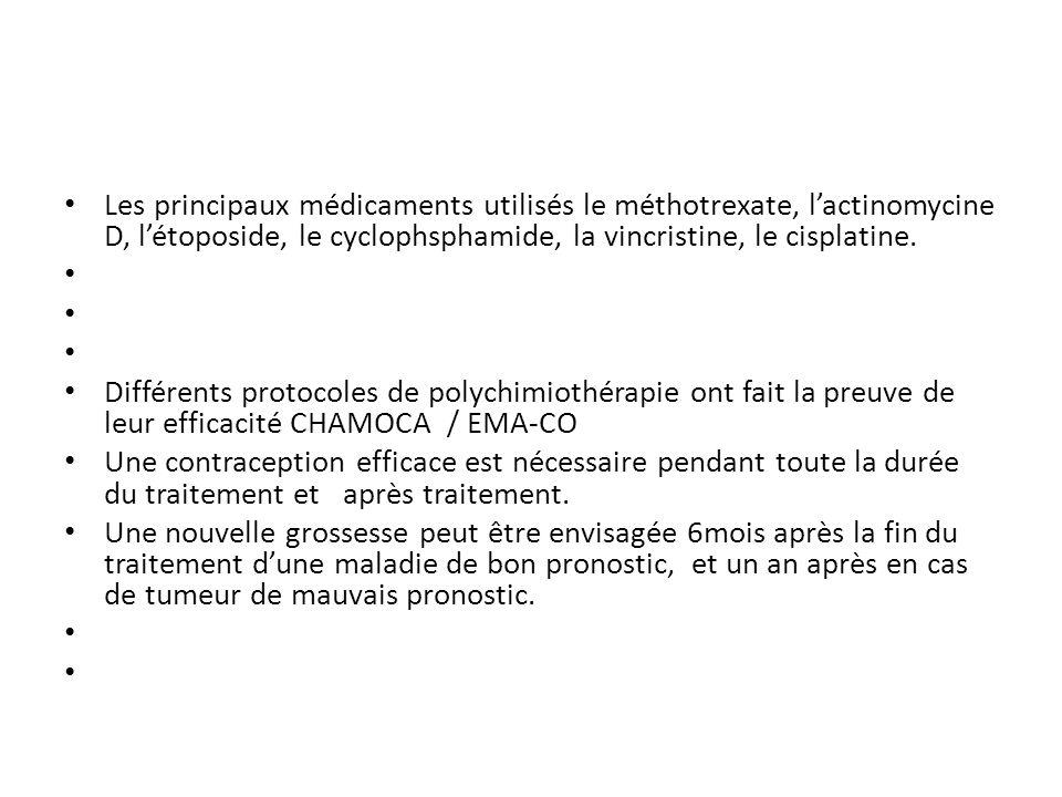 Les principaux médicaments utilisés le méthotrexate, lactinomycine D, létoposide, le cyclophsphamide, la vincristine, le cisplatine.