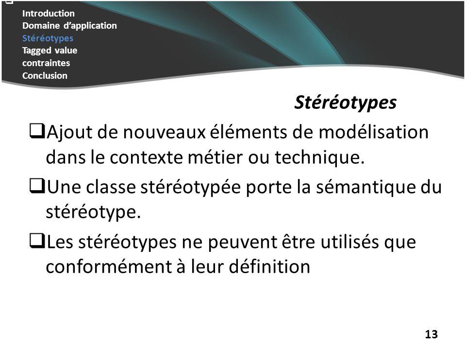 Introduction Domaine dapplication Stéréotypes Tagged value contraintes Conclusion Stéréotypes Ajout de nouveaux éléments de modélisation dans le contexte métier ou technique.