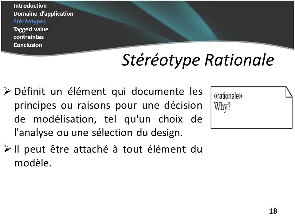 18 Stéréotype Rationale Définit un élément qui documente les principes ou raisons pour une décision de modélisation, tel qu un choix de l analyse ou une sélection du design.
