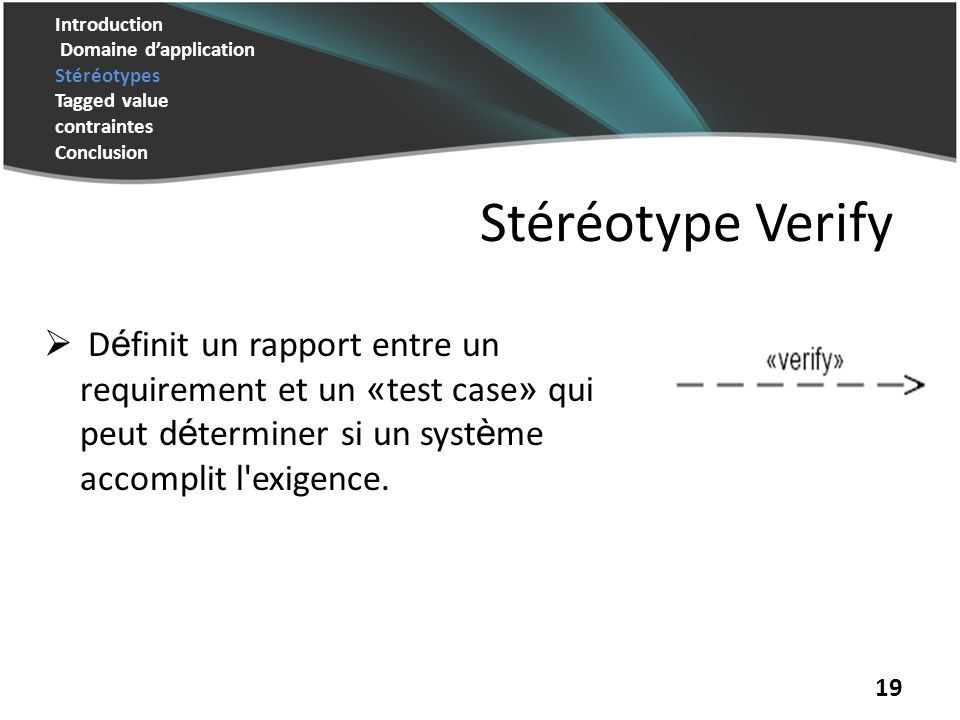 Introduction Domaine dapplication Stéréotypes Tagged value contraintes Conclusion 19 Stéréotype Verify D é finit un rapport entre un requirement et un