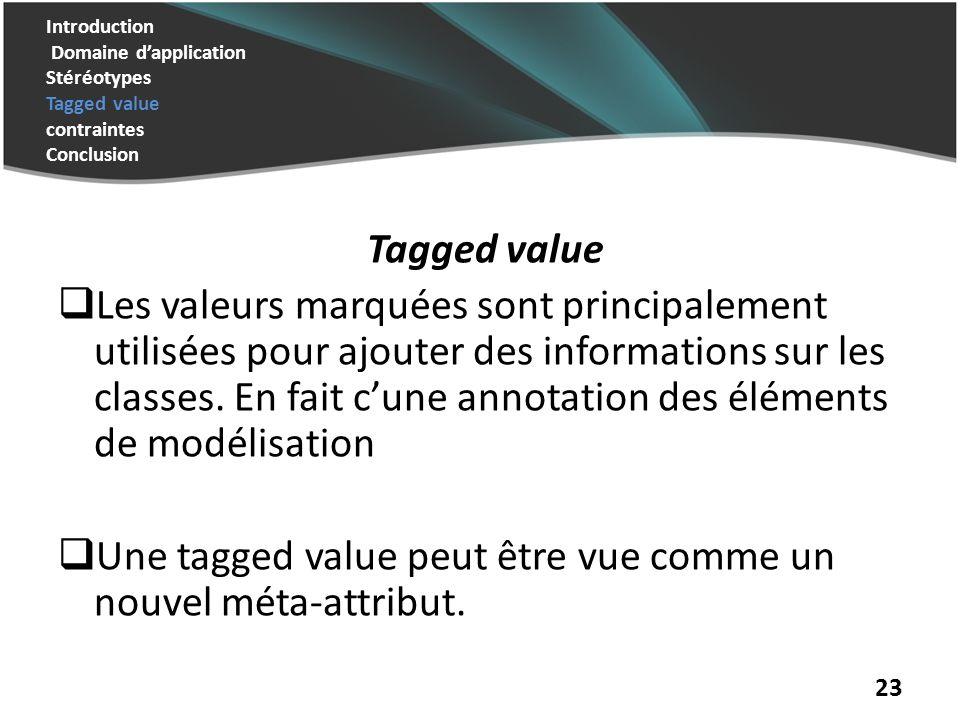 Introduction Domaine dapplication Stéréotypes Tagged value contraintes Conclusion Tagged value Les valeurs marquées sont principalement utilisées pour ajouter des informations sur les classes.