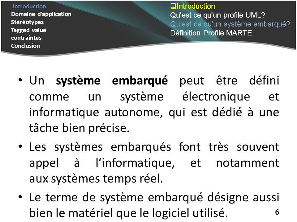 Introduction Domaine dapplication Stéréotypes Tagged value contraintes Conclusion 6 Un système embarqué peut être défini comme un système électronique et informatique autonome, qui est dédié à une tâche bien précise.