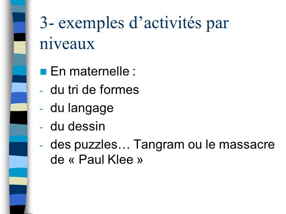 3- exemples dactivités par niveaux En maternelle : - du tri de formes - du langage - du dessin - des puzzles… Tangram ou le massacre de « Paul Klee »