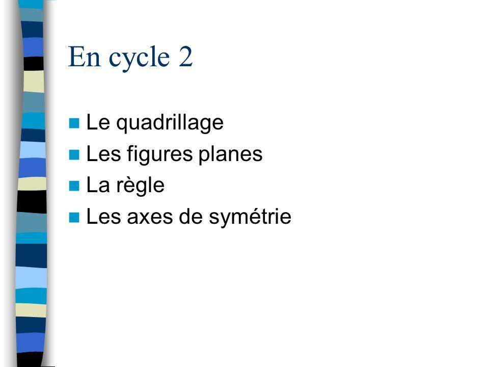 En cycle 2 Le quadrillage Les figures planes La règle Les axes de symétrie