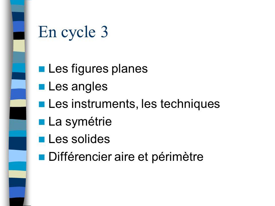En cycle 3 Les figures planes Les angles Les instruments, les techniques La symétrie Les solides Différencier aire et périmètre