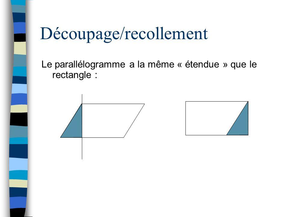 Découpage/recollement Le parallélogramme a la même « étendue » que le rectangle :