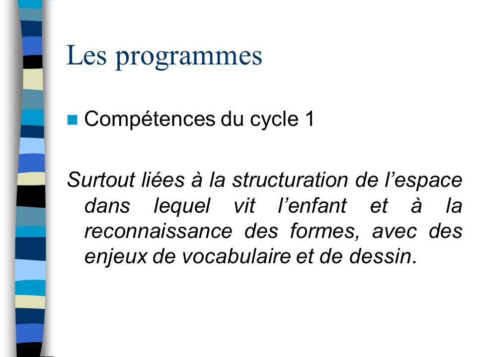 Les programmes Compétences du cycle 1 Surtout liées à la structuration de lespace dans lequel vit lenfant et à la reconnaissance des formes, avec des