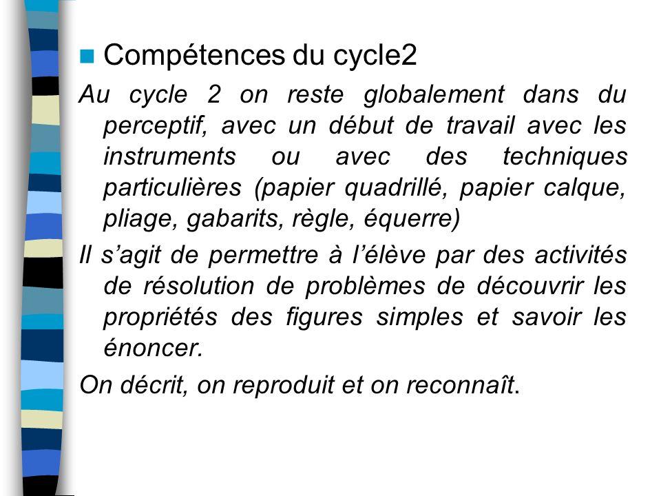 Compétences du cycle2 Au cycle 2 on reste globalement dans du perceptif, avec un début de travail avec les instruments ou avec des techniques particul