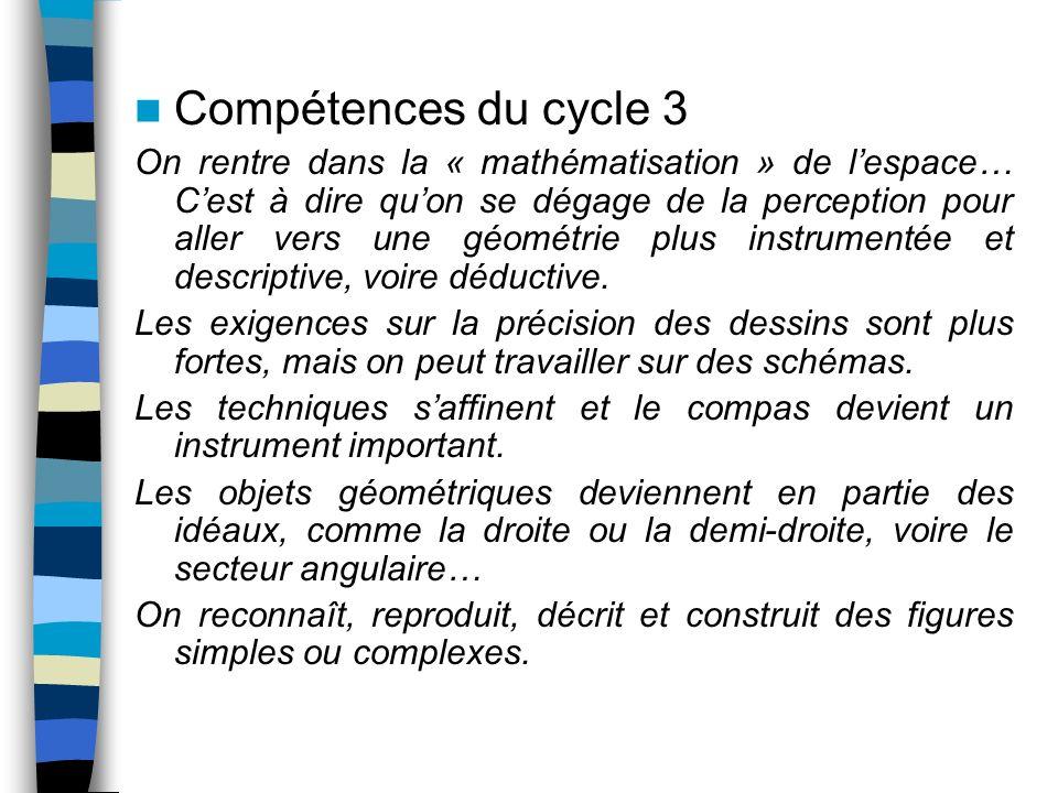 Compétences du cycle 3 On rentre dans la « mathématisation » de lespace… Cest à dire quon se dégage de la perception pour aller vers une géométrie plu