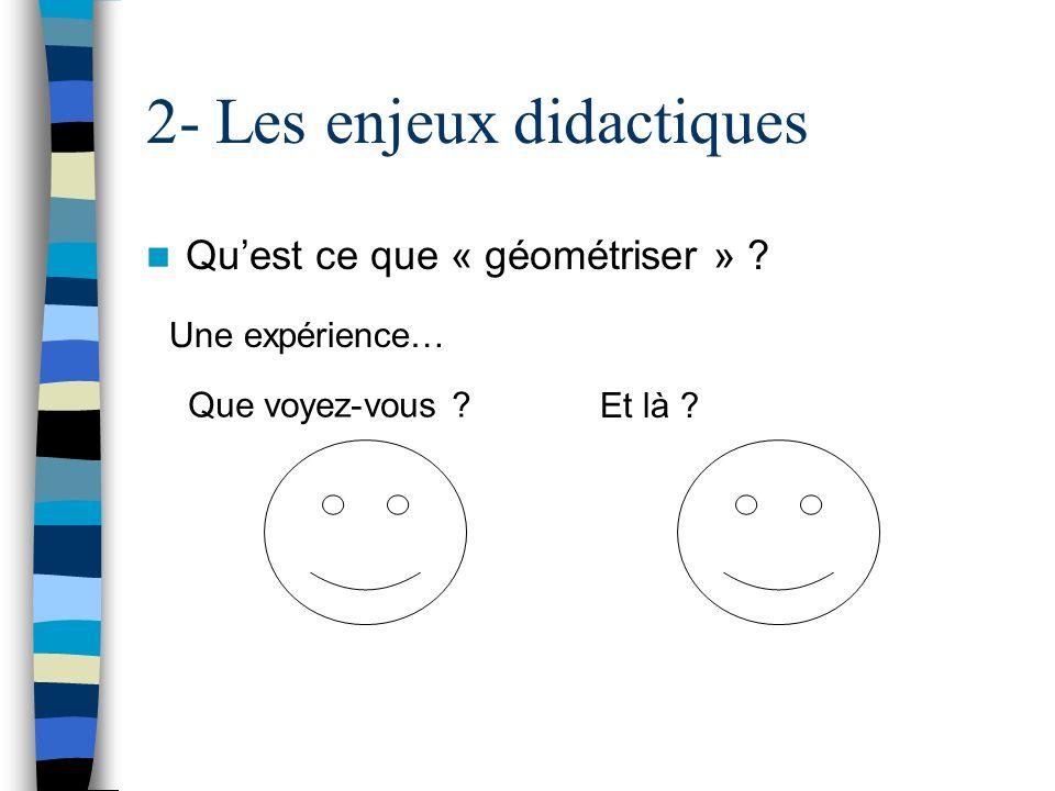 2- Les enjeux didactiques Quest ce que « géométriser » ? Une expérience… Que voyez-vous ? Et là ?