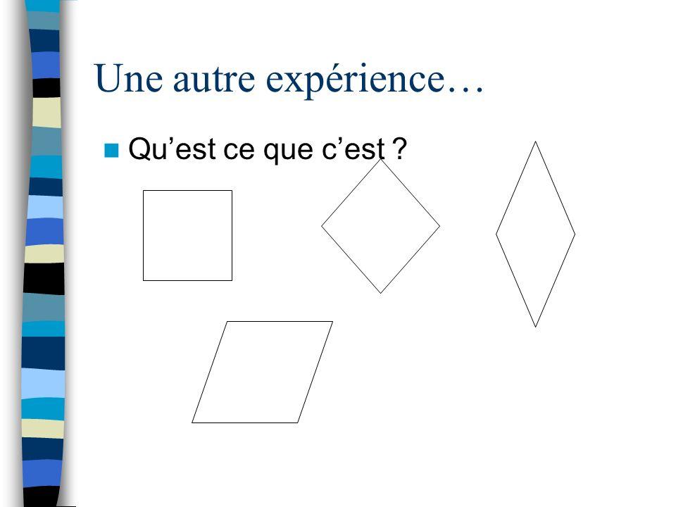 Une autre expérience… Quest ce que cest ?